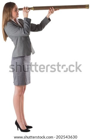 Businesswoman looking through a telescope on white background
