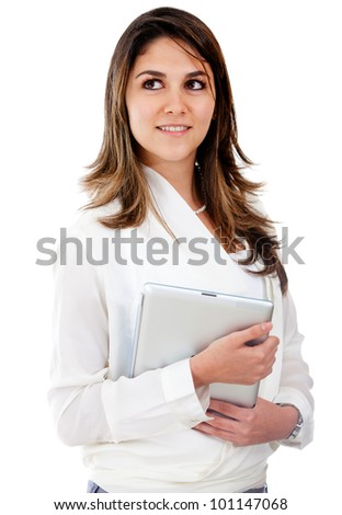 Businesswoman looking up and holding a folder - isolated over white