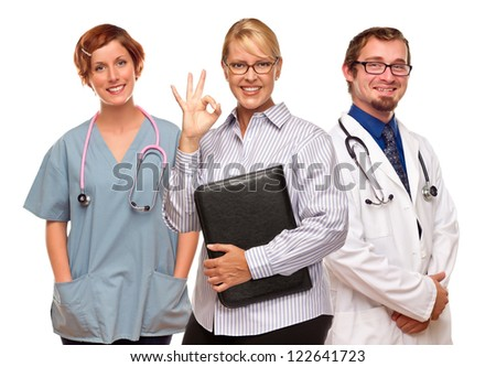Businesswoman Making Okay Hand Sign with Two Doctors or Nurses Isolated on a White Background.