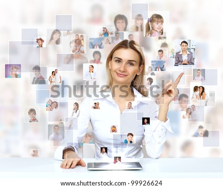 Businesswoman making presentation against social network background - stock photo