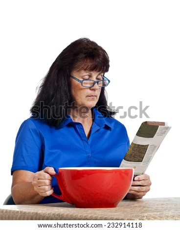 Businesswoman Needing LOTS Of Caffeine With Large Coffee Cup - stock photo