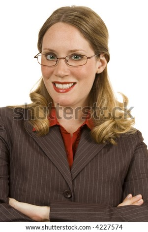 Businesswoman on a white background