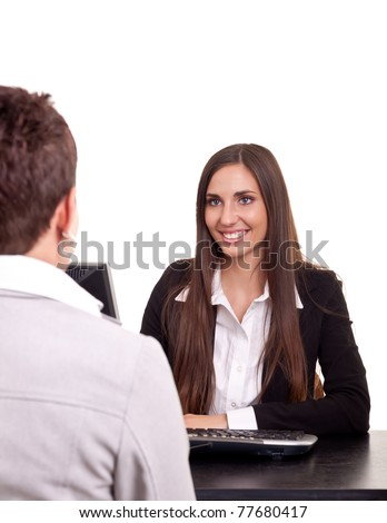 businesswoman on meeting  with a client in office - stock photo