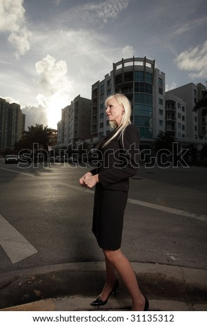 businesswoman on the street corner