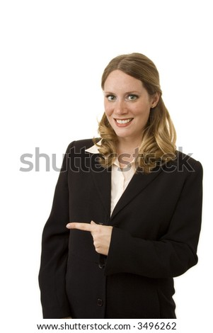 Businesswoman on white pointing to side