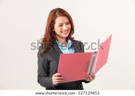 businesswoman open a document file