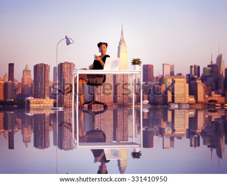 Businesswoman Outdoor Working Coffee Break Concept