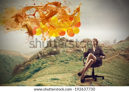 businesswoman outside - stock photo