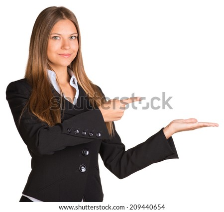 Businesswoman pointing her finger at the empty hand - stock photo