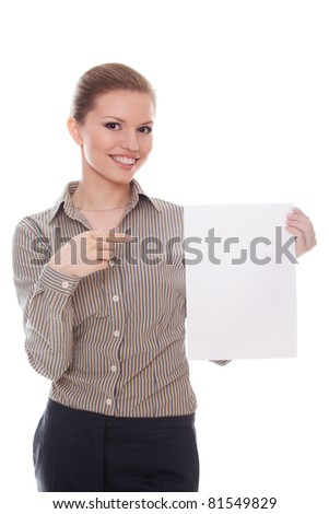 Businesswoman pointing showing empty billboard copy-space for your text - stock photo