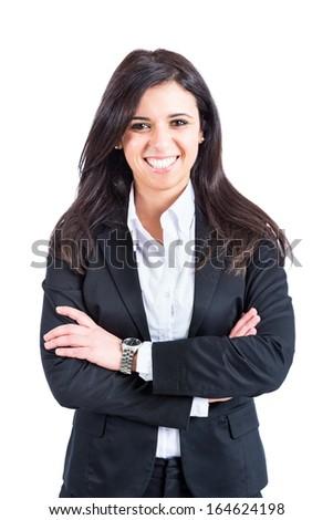 Businesswoman Portrait on White - stock photo