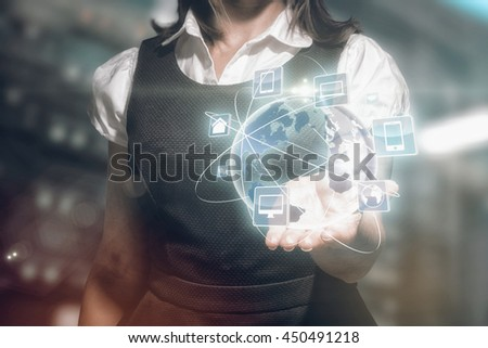 Businesswoman presenting against view of data technology