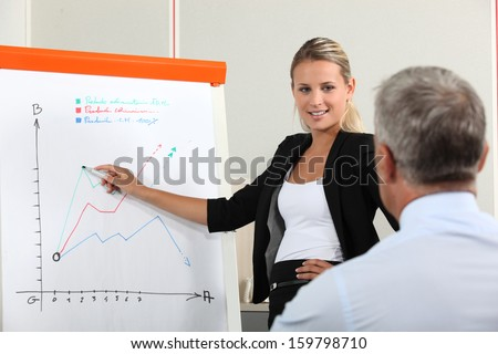 Businesswoman presenting  market research - stock photo
