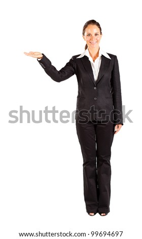 businesswoman presenting on white background