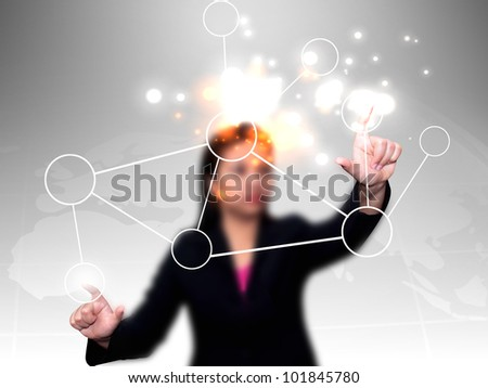 businesswoman press diagram - stock photo