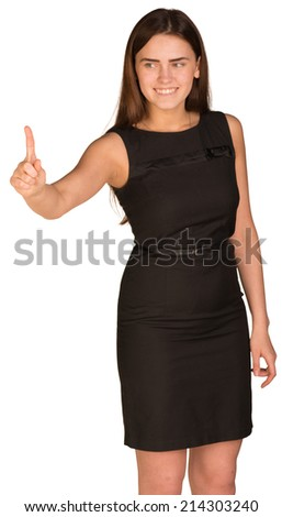 Businesswoman presses finger into empty space in front of him - stock photo