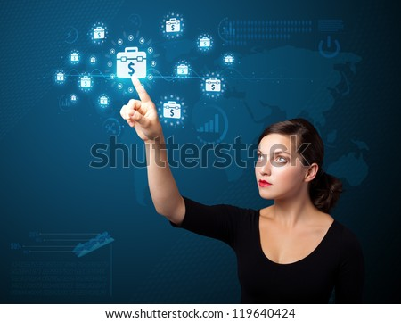 Businesswoman pressing business type of modern buttons with virtual background - stock photo