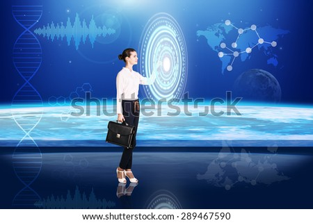 Businesswoman pressing high tech type of modern buttons on a virtual background. Elements of this image furnished by NASA