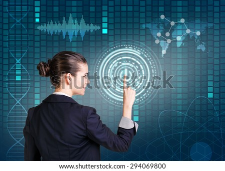 Businesswoman pressing high tech type of modern buttons on a virtual background. Elements of this image furnished by NASA - stock photo