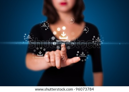 Businesswoman pressing simple start buttons on a virtual background - stock photo