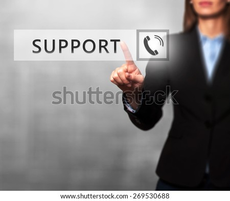 Businesswoman pressing support button on virtual screens. Women finger on phone icon. Isolated on grey. Business, technology, internet and networking concept. Stock Image - stock photo