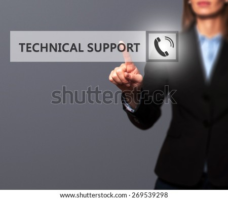 Businesswoman pressing technical support button on virtual screens. Women finger on Phone Icon. Isolated on grey. Business, technology, internet and networking concept -  Stock Image