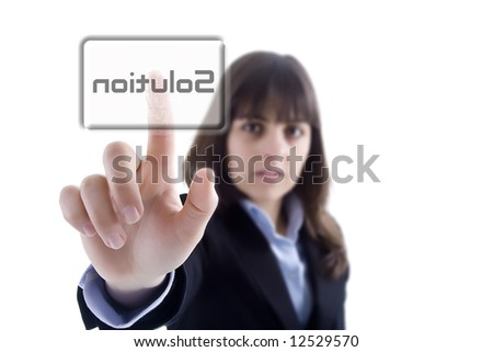businesswoman pressing the solution button isolated in white background