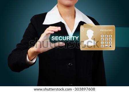Businesswoman protect envelope with top secret confidential file. - stock photo