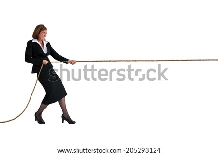 businesswoman pulling a rope business concept isolated on white - stock photo