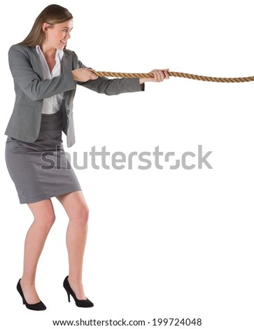 Businesswoman pulling a rope on white background