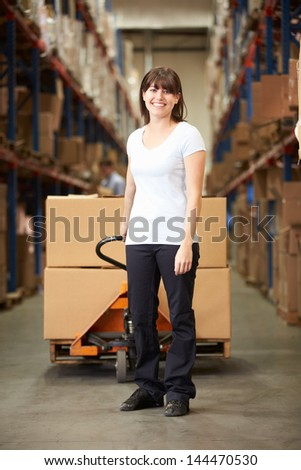 Businesswoman Pulling Pallet In Warehouse - stock photo