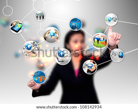businesswoman pushing diagram - stock photo