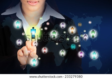 Businesswoman pushing on person, Social Network - stock photo