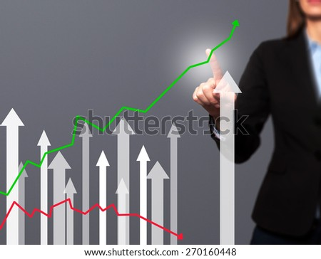 Businesswoman pushing the graph on visual screen. Women finger on growth line. Business stock, technology concept. Isolated on grey. Stock Image - stock photo