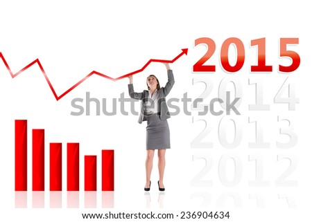 Businesswoman pushing up with hands against 2015