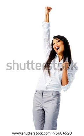 Businesswoman raises one fist in the air in joy, isolated on white - stock photo