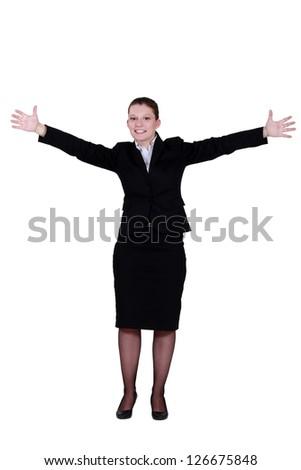businesswoman raising hands - stock photo
