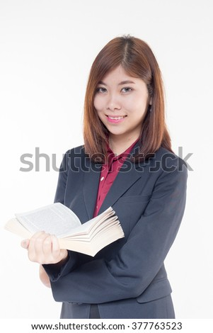 businesswoman reading a book, isolated on white background