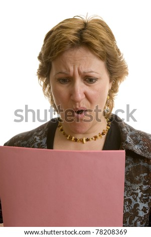 Businesswoman reading her layoff notice