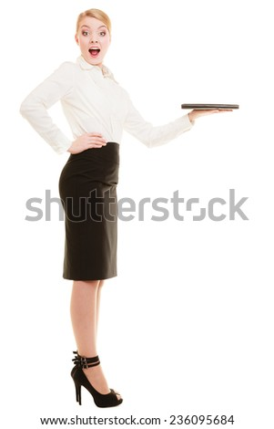 Businesswoman recommending your product. Surprised woman showing blank copy space on hand isolated. Business advertisement. - stock photo