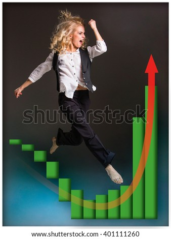 Businesswoman runing up a stairway and growing sales chart - stock photo