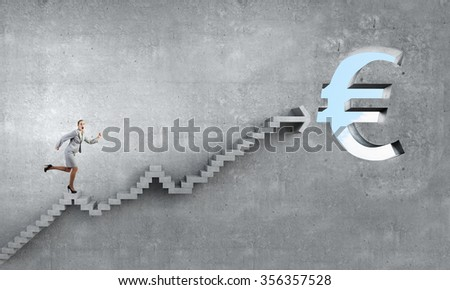 Businesswoman running on ladder leading to financial success - stock photo