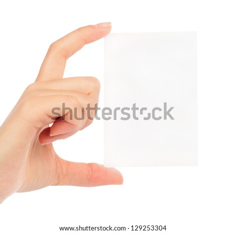 Businesswoman's hand holding blank paper business card, closeup isolated on white background - stock photo