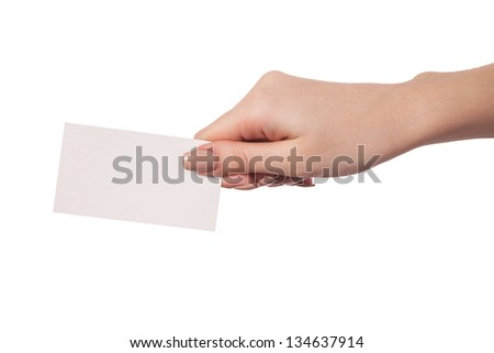 Businesswoman's hand holding blank paper business card, closeup isolated on white background