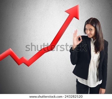 Businesswoman satisfied and happy for financial profits - stock photo