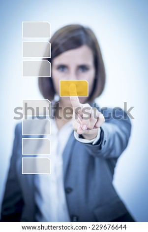Businesswoman Searching Files on virtual cloud computer - stock photo