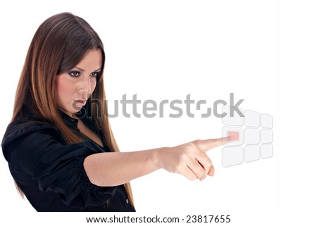 Businesswoman selected visual button.Future technology. - stock photo