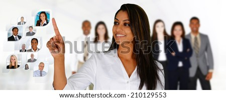 Businesswoman selecting members of her business team