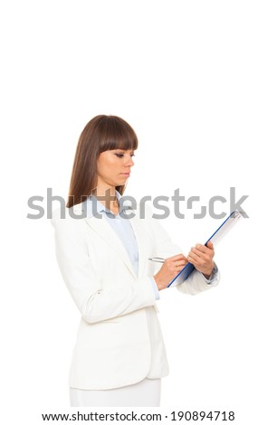 businesswoman serious writing on clipboard sign up contract, business woman isolated over white background - stock photo