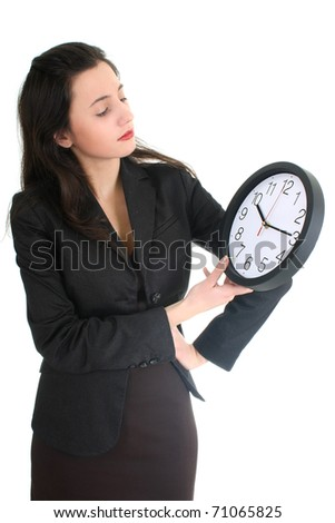 businesswoman seriously looking at time over white - stock photo